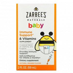 Zarbee&#x27 - s, Детская добавка с витаминами для укрепления иммунитета, с натуральным апельсиновым вкусом, 59 мл (2 жидк. унции)