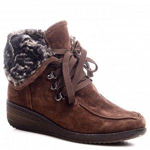 Ботинки Страна производитель: Турция Полнота обуви: Тип «F» или «Fx» Материал верха: Замша Цвет: Коричневый Материал подкладки: Натуральный мех Стиль: Повседневный Форма мыска/носка: Закругленный Кабл