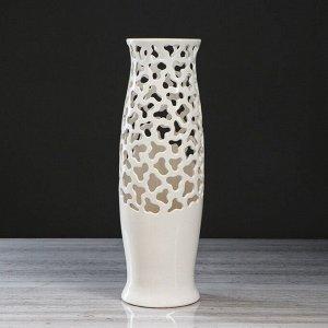 """Ваза напольная """"Ромина"""". цвет белый. резка. 40 см. керамика"""