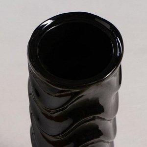 """Ваза настольная """"Волна"""". глазурь. цвет черный. 38 см. керамика"""