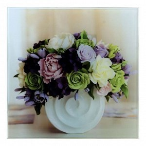 """Картина на стекле """"Цветы в белой вазе""""  30х30см"""