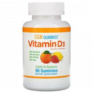 California Gold Nutrition, Жевательные конфеты с витамином D3, без желатина, без глютена, со вкусом ягод и фруктов, 2000 МЕ на порцию, 90 жевательных конфет