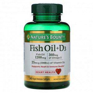 Nature&#x27 - s Bounty, Рыбий жир + D3, 90 быстро высвобождаемых мягких капсул