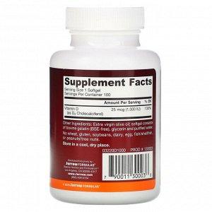 Jarrow Formulas, Vitamin D3, Cholecalciferol, 25 mcg (1,000 IU), 100 Softgels