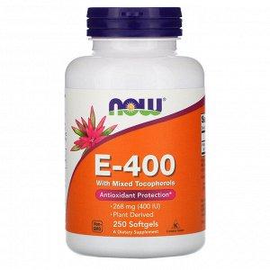 Now Foods, Натуральный витамин E-400 со смесью токоферолов, 250 мягких желатиновых капсул