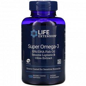 Life Extension, Super Omega-3, 120 Enteric Coated Softgels