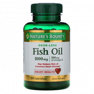 Nature&#x27 - s Bounty, Odorless Fish Oil, 1,000 mg, 120 Coated Softgels