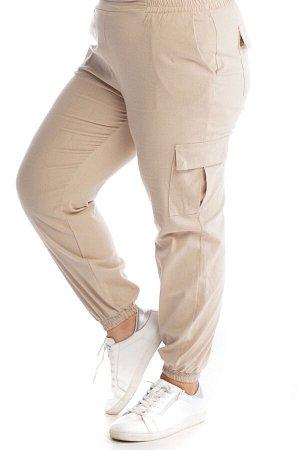 """Брюки-2621 Модель брюк: Прямые; Материал: Хлопок стрейч;   Фасон: Брюки Брюки """"Карго"""" бежевые Стильные брюки - карго из мягкого, приятного телу материала. Отлично сидят за счет комфортной высокой поса"""