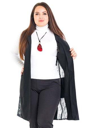 Жилет-2599 Жилет трикотажный с гипюровыми вставками     Элегантный стильный жилет выполнен из мягкого трикотажа без подкладки. Удлиненная модель прямого силуэта имеет круглый вырез. По бокам практи