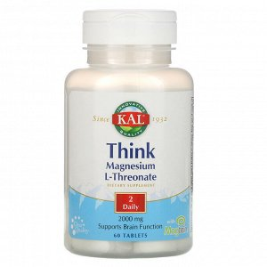 KAL, Магний L-треонат для улучшения работы мозга, 2000 мг, 60 таблеток
