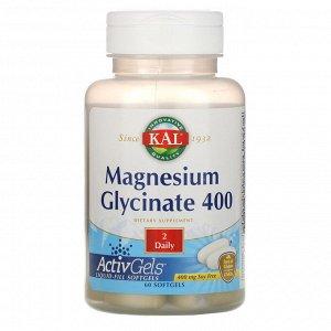KAL, Глицинат магния 400, без сои, 400 мг, 60 мягких капсул