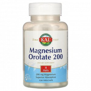 KAL, Magnesium Orotate 200, 200 mg, 120 Vegcaps