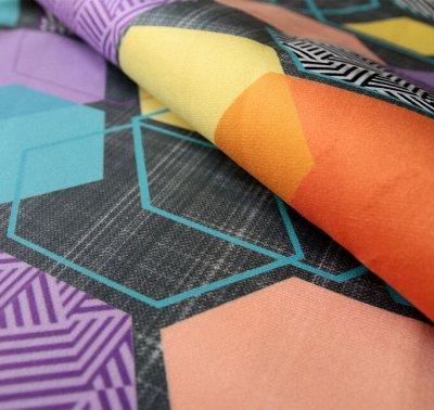 Обивка🛋Ткани мебельные/ Кожзам/ Ковры/ Подушки [ARBEN] — Ткань принт GEOMETRY (Микровелюр) — Чехлы для подушек