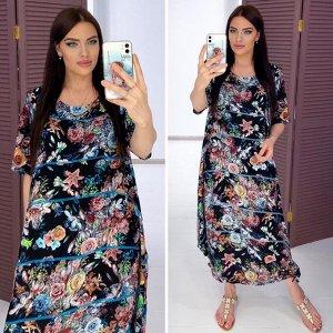 Платье Платье штапельное, к низу на завязках, боковые карманы в шве, 125 см длина