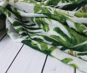 Муслиновая пеленка Зеленые листья (бамбук-хлопок)