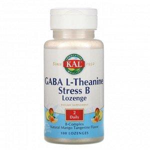 KAL, ГАМК, L-теанин, таблетки Stress B, натуральный аромат манго и танжерина, 100 таблеток