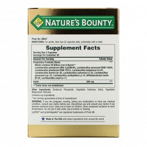 Nature&#x27 - s Bounty, Ultra Strength Probiotic 10, 20 Billion Live Cultures, 60 Capsules