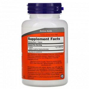 Now Foods, L-лизин, 1000 мг, 100 таблеток