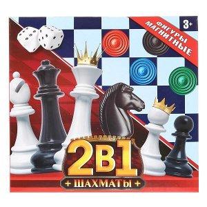 1704K633-R Шахматы магнитные, 2в1 (шахматы + наст.игра) в кор. 16*15*3см Играем вместе в кор.2*72шт
