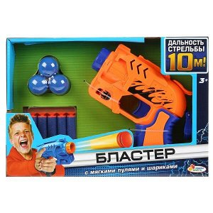 B1891525-R Игрушка бластер с мягкими пулями и шариками, 2 вида в русс кор. 26*18*5см Играем вместе в кор.2*36шт