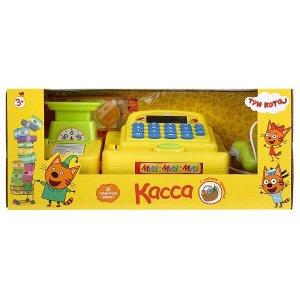 B1873830-R Касса ТРИ КОТА на бат. (весы,сканер,калькулятор,аксесс) свет+звук в кор. Играем вместе в кор.2*12шт