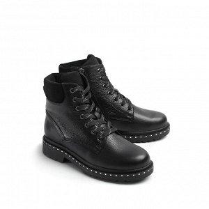 Ботинки зимние женские, черная кожа