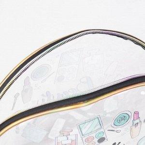 Косметичка ПВХ, отдел на молнии, цвет прозрачный