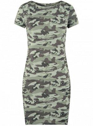 Платье приталенное с металлическим декором на плечах