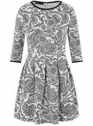 Платье трикотажное со складками на юбке