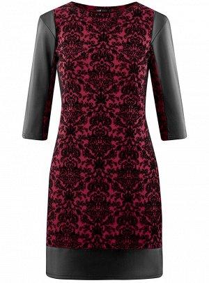 Платье с флоком и отделкой из искусственной кожи