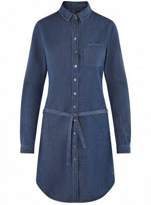 Платье джинсовое с поясом и нагрудным карманом