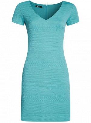 Платье из фактурной ткани с V-образным вырезом