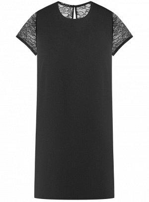 Платье расклешенное с кружевными вставками