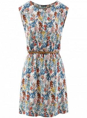 Платье без рукавов из принтованной вискозы