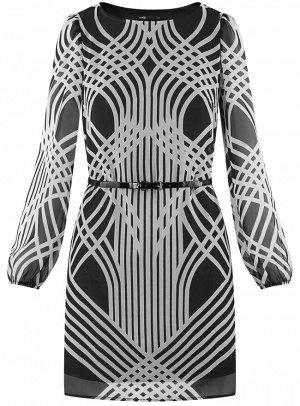 Платье из шифона с ремнем
