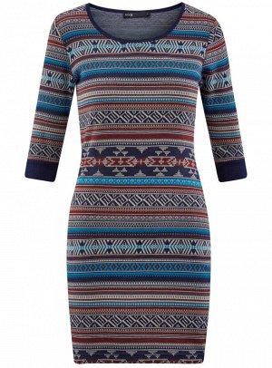 Платье жаккардовое с геометрическим узором