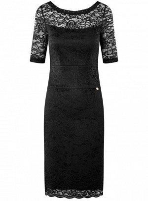 Платье кружевное с V-образным вырезом на спине