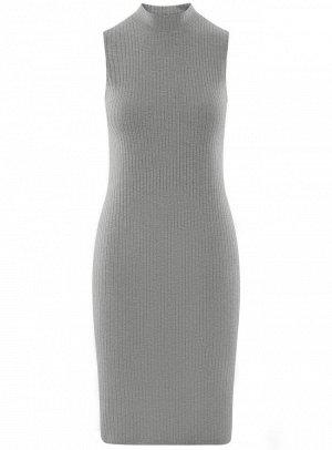 Платье в рубчик с воротником-стойкой