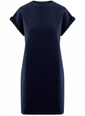 Платье прямого силуэта с отворотами на рукавах