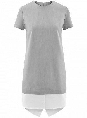 Платье прямого силуэта из комбинированной ткани