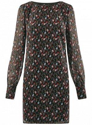 Платье прямого силуэта из струящейся ткани