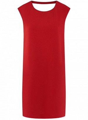 Платье прямого силуэта с глубоким вырезом на спине