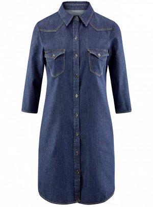 Платье джинсовое с карманами