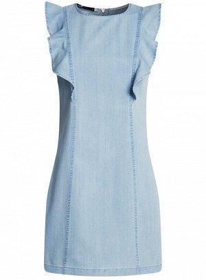 Платье джинсовое с воланами и молнией