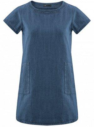 Платье джинсовое прямого силуэта