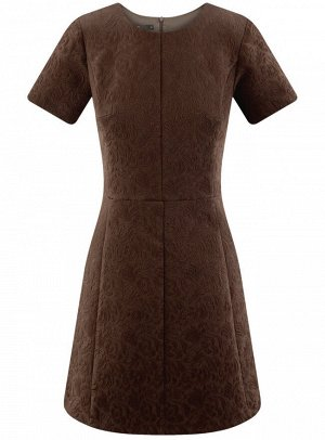 Платье жаккардовое с коротким рукавом