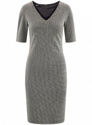 Платье жаккардовое с V-образным вырезом
