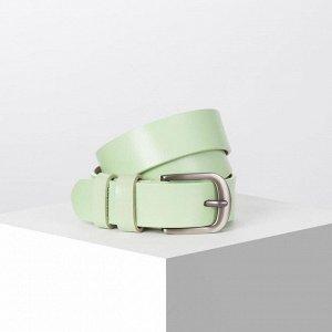 Ремень женский, ширина - 3 см, пряжка металл, цвет светло-зелёный