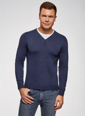 Пуловер с хлопковой вставкой на груди