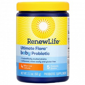 Renew Life, Ultimate Flora Baby Probiotic, 4 Billion Live Cultures, 2.1 oz (60 g)